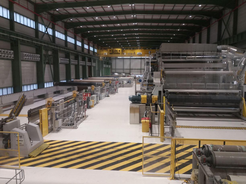 Interior edificio máquina OMC para SAICA. El Burgo de Ebro (Zaragoza)